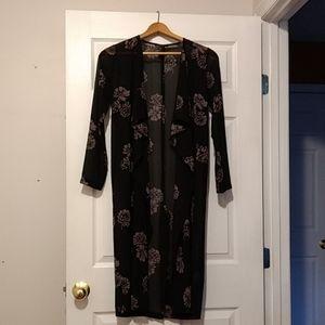 Long sleeve, sheer black floral duster